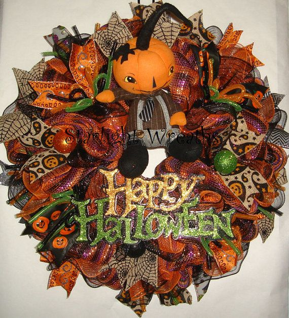 Happy Halloween Boy Pumpkin Mesh Wreath by StarlightWreaths