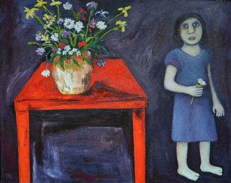 "Regina Noakes- Red Hill Art Gallery, Brisbane. Painting ""The Flower Arranger"" 120x150cm"