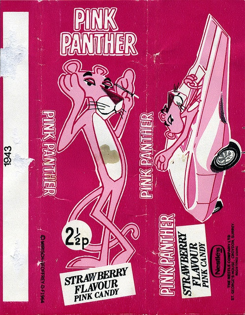 UK - Nestle's - Pink Panther strawberry flavour pink 2 1/2p candy bar wrapper - 1970's by JasonLiebig, via Flickr