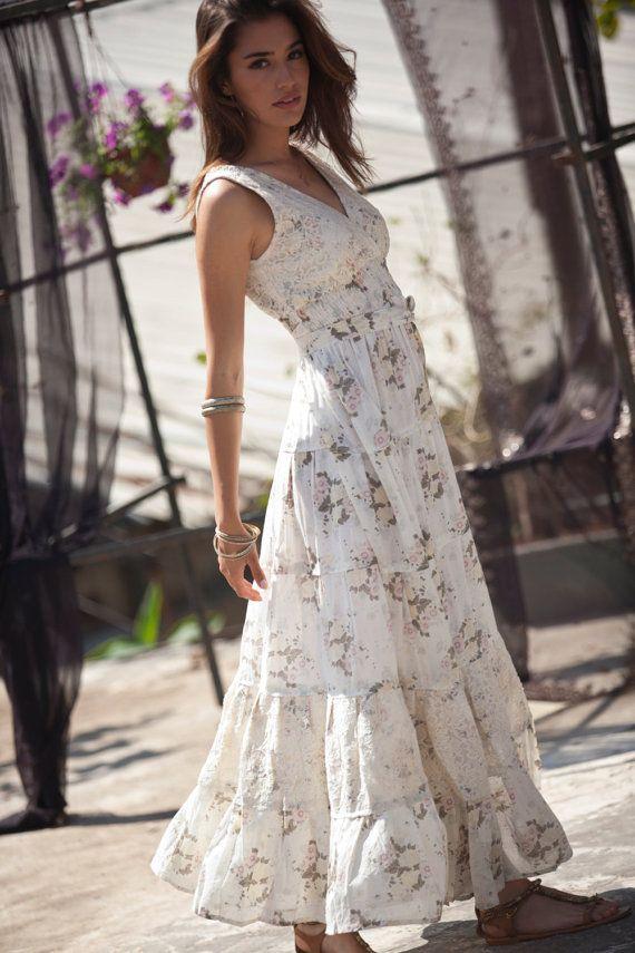 Cream Maxi Dress ,Hippie Urban Evening & Day Summer Dress, Boho Unique Long Carrie Dress, Romantic Flower Cotton Maxi Dress, size S - XL
