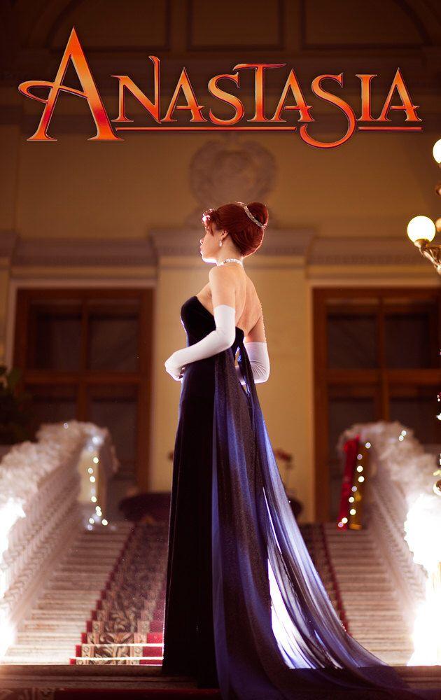 Evening Dress Anastasia Princess Costume Cosplay Movie Cartoon Russia Clothing Blue Velvet by PhoenixCardinal on Etsy https://www.etsy.com/listing/220426671/evening-dress-anastasia-princess-costume