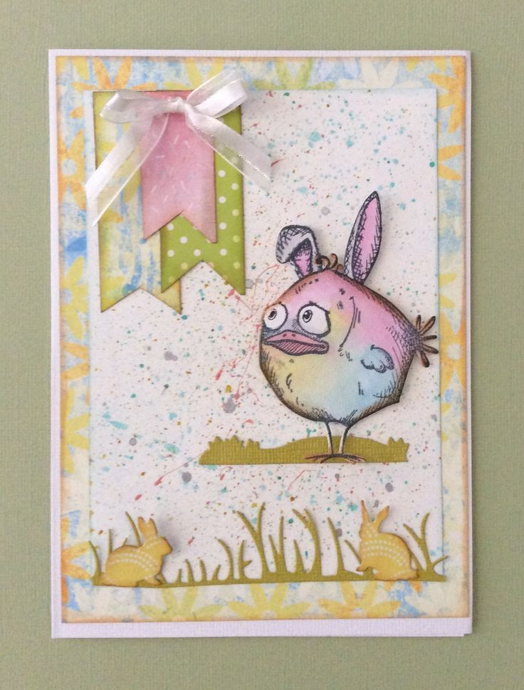 Homemade card Easter-Tim Holtz Crazy Birds dies and stamps