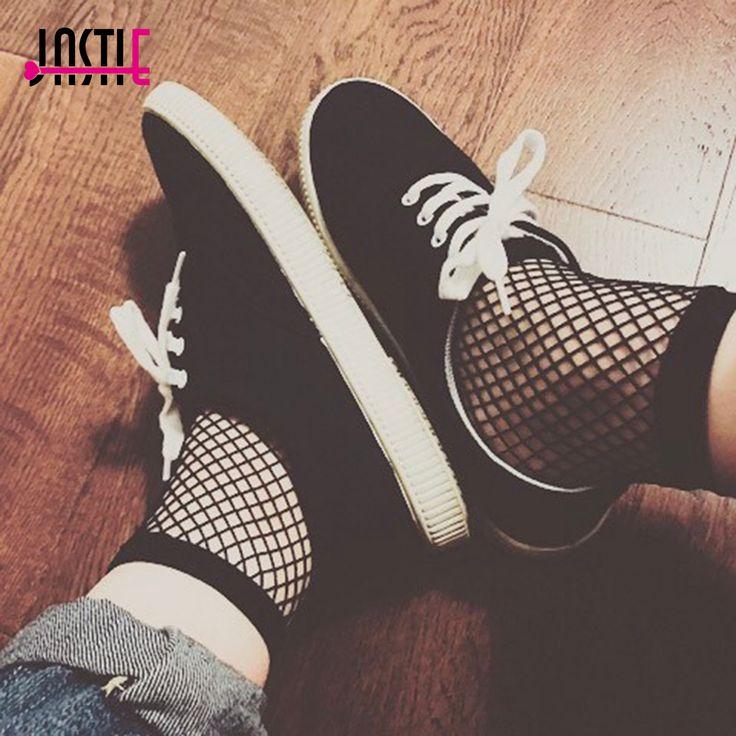Jastie Streetwear Sexy fishnet short socks women Mesh black socks slim club party socks  hollow out socks #Affiliate