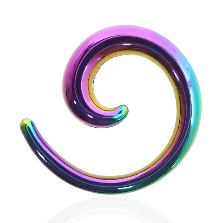 Spirale pour écarter l'oreille en acier chirurgical de couleur essence.