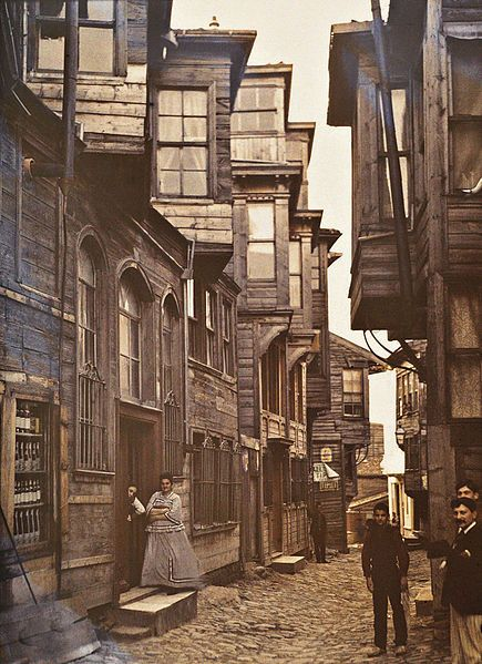 Wooden houses in Beyoğlu Istanbul, Turkey, September 1912, Stéphane Passet, public domain via Wikimedia Commons.