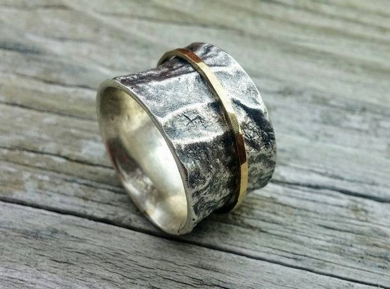 Mixed Metal Rustic Texture Meditation Ring by LolaJewelleryDesign