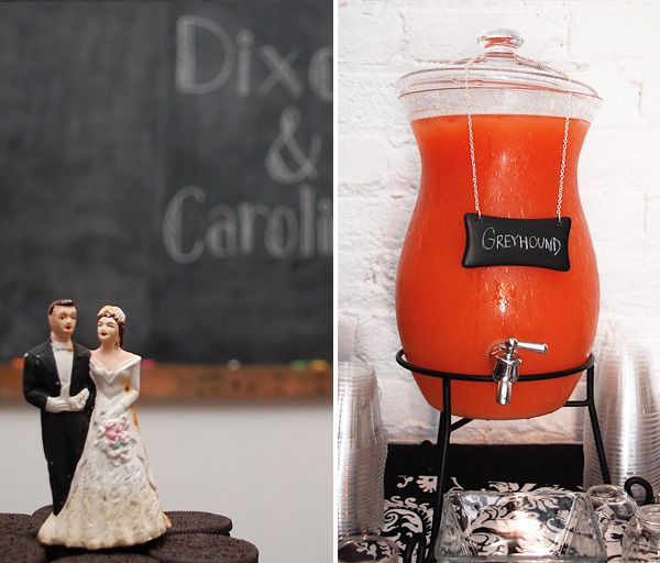 """Love the Lemonade Bubbler full of Greyhounds, and the Oreo Cookie Cake at this """"Vintage+Modern"""" Engagement Party!"""