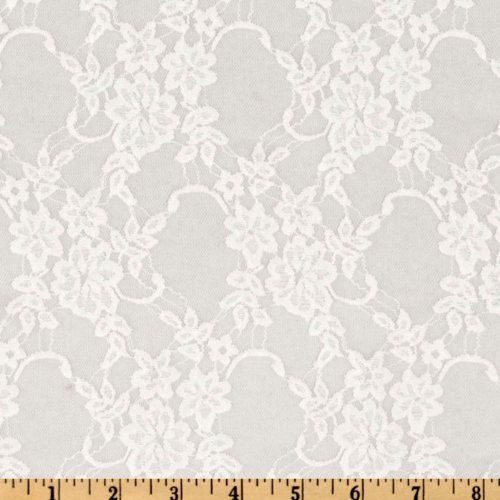 Giselle Stretch Floral Lace White Fabric - http://fabric.diysupplies.org/lace/giselle-stretch-floral-lace-white-fabric/