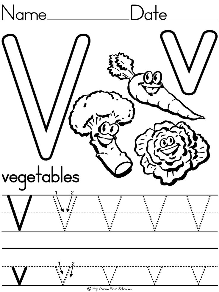 Vegetables Handwriting Practice Worksheet.
