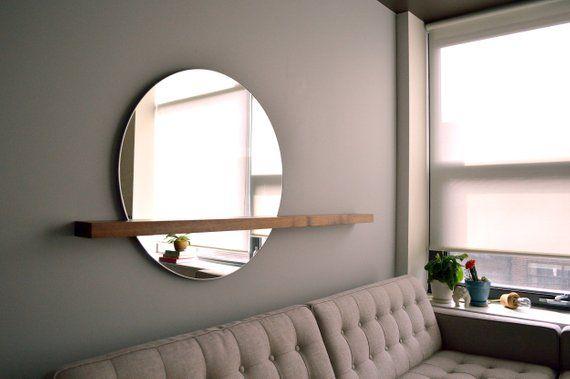 Miroir rond moderne, miroir minimal avec étagère flottante en bois massif, RISEMD Miroir SET sur left Side – Shelf Entryway, étagère en bois massif