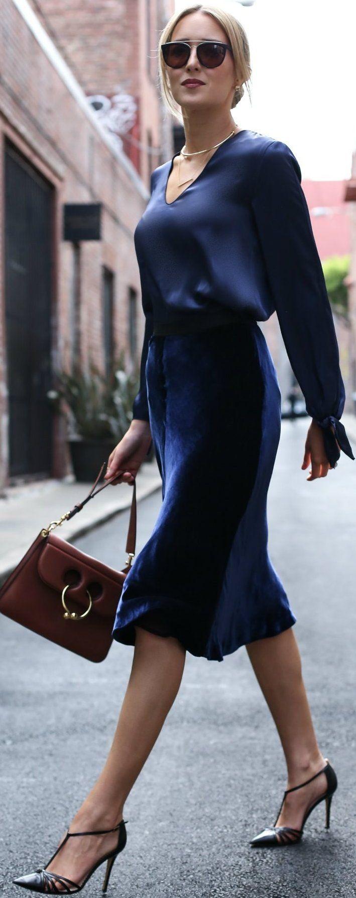 #fall #trending #outfits |  All Blue + Silk + Velvet