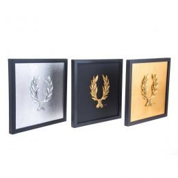 Handmade Wall or Table Laurel Wreath Set of 3 pcs, Gold & Silver Patinated, Framed 11.8'' (30cm)