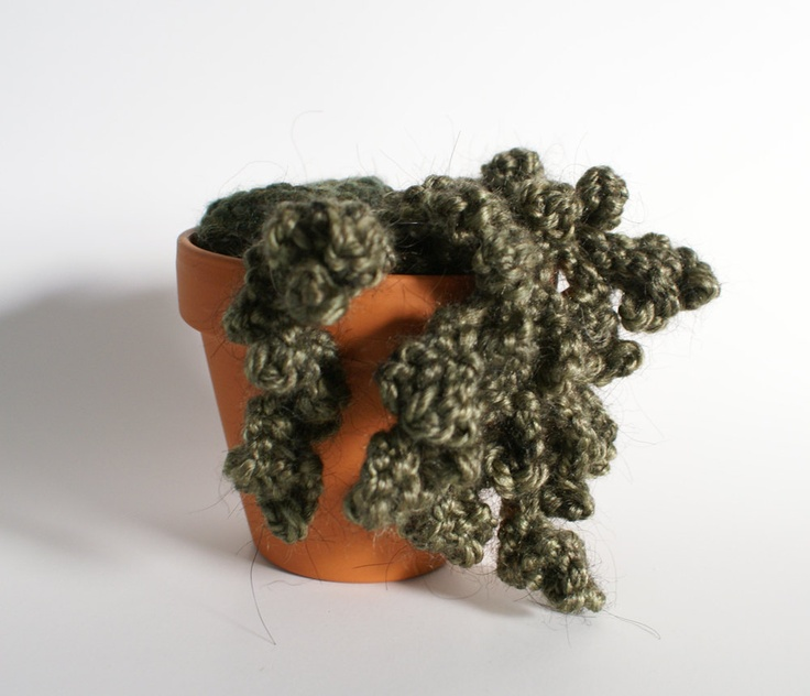 Knitted Plant with Moss and Overhanging Tendrils. $38.00, via Etsy.