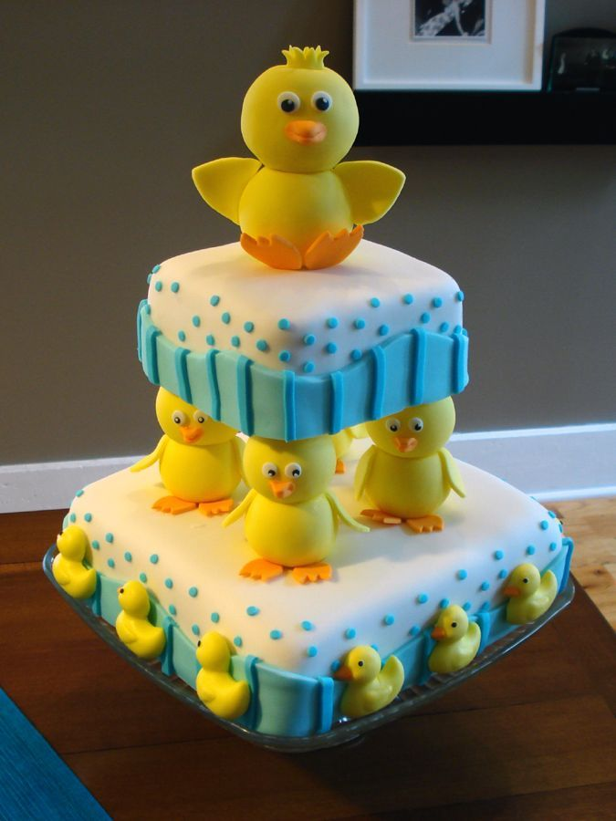 duckie cake - Look how stinking cute the top duck is with it's wings spread wide!