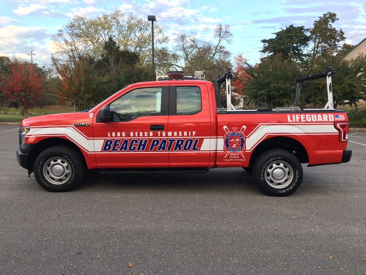 Take a look at the new graphics we installed on the Long Beach Township Beach Patrol, LBI New Jersey trucks! They look great! #Coastal #Sign #Truck #Ford #Beach #Red