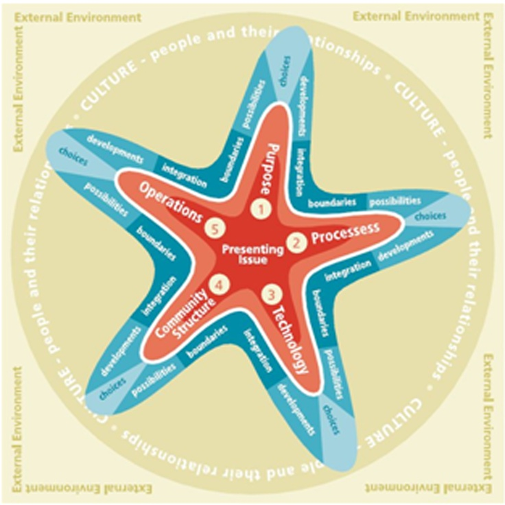 Organisation Development Practitioners often rely on multiple frameworks, models and practices. The Starfish Change Navigator© interactive online tool helps practitioners manage OD issues and interventions, navigate the complexity of multiple OD phases of work and support sense-making and knowledge management.