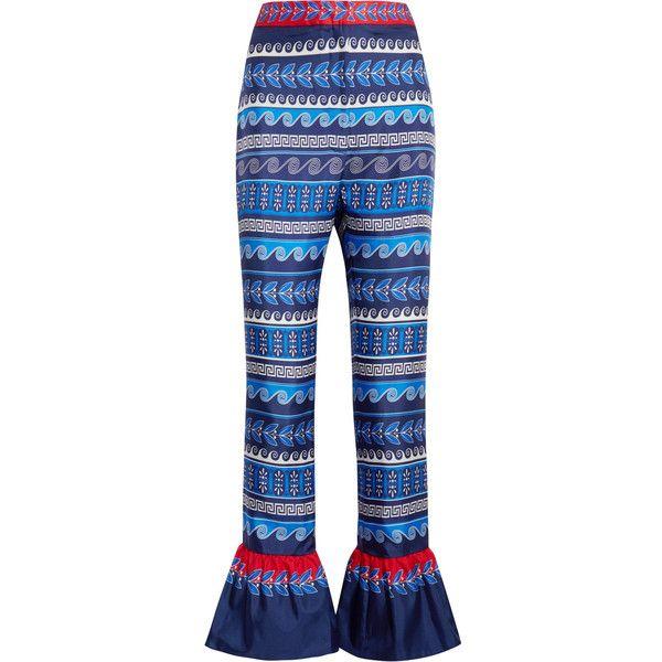 Mary Katrantzou Peyote ruffled printed silk-twill flared pants (€630) ❤ liked on Polyvore featuring pants, mary katrantzou, blue, flare trousers, flared pants, frilly pants, zipper pants and blue trousers