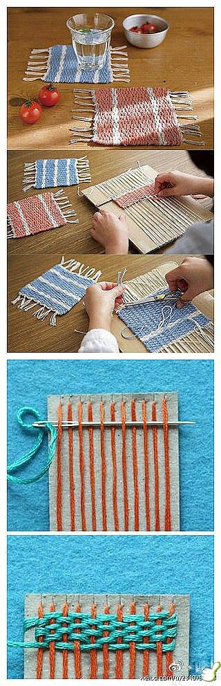 Woven coasters or placemats... love the idea of using cardboard to hold the warp threads