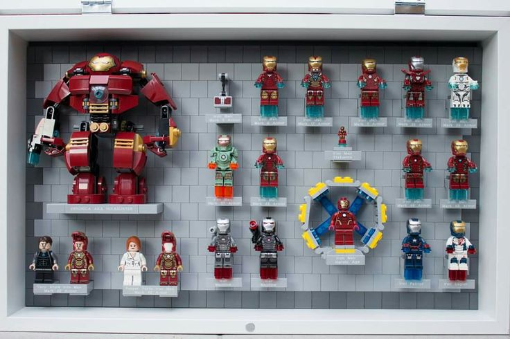 Lego Iron Man suits display.