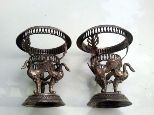Two-Matched-Antique-Silverplate-VICTORIAN-EGG-CUPS-CADDY-Figural-SWANS