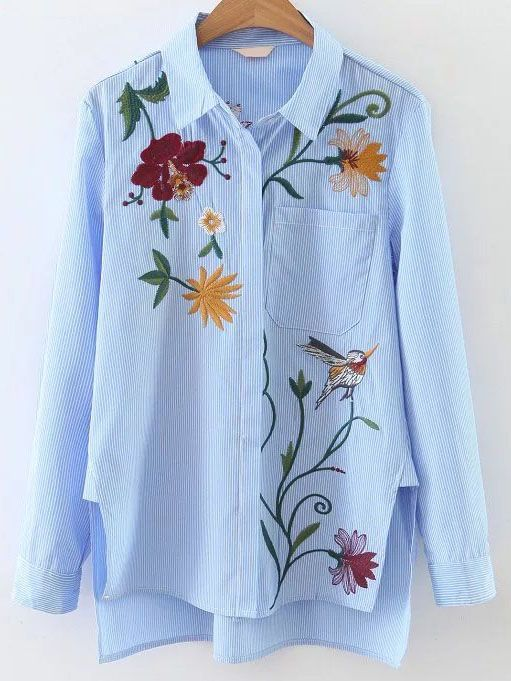 Shop Blue Vertical Striped Embroidery High Low Blouse online. SheIn offers Blue Vertical Striped Embroidery High Low Blouse & more to fit your fashionable needs.