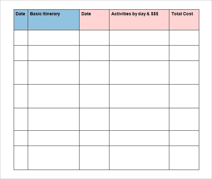 26+ Trip Itinerary Templates - PDF, DOC, Excel | Travel ...