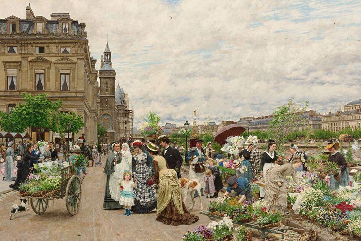 Пазл Цветочный рынок в Париже — собрать пазл онлайн