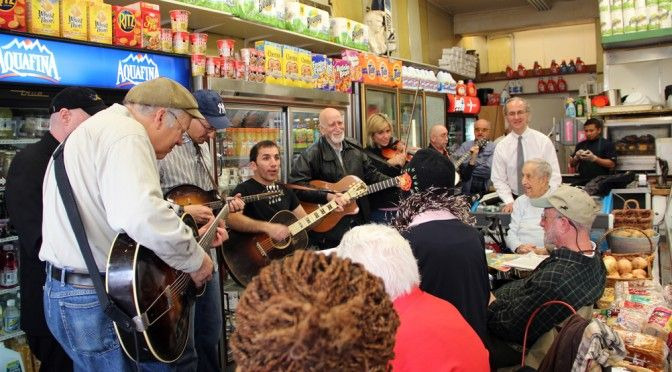 Dominic Chianese of The Sopranos holds an informal jam at Conte's Market in New York. #thesopranos, #guitar