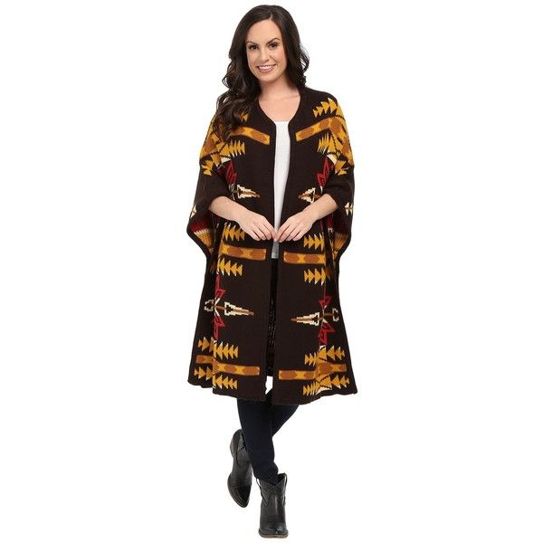 Ariat Pendleton Wrap Women's Coat ($180) ❤ liked on Polyvore featuring outerwear, coats, ariat, wrap poncho, tribal print poncho, poncho coat and tribal poncho