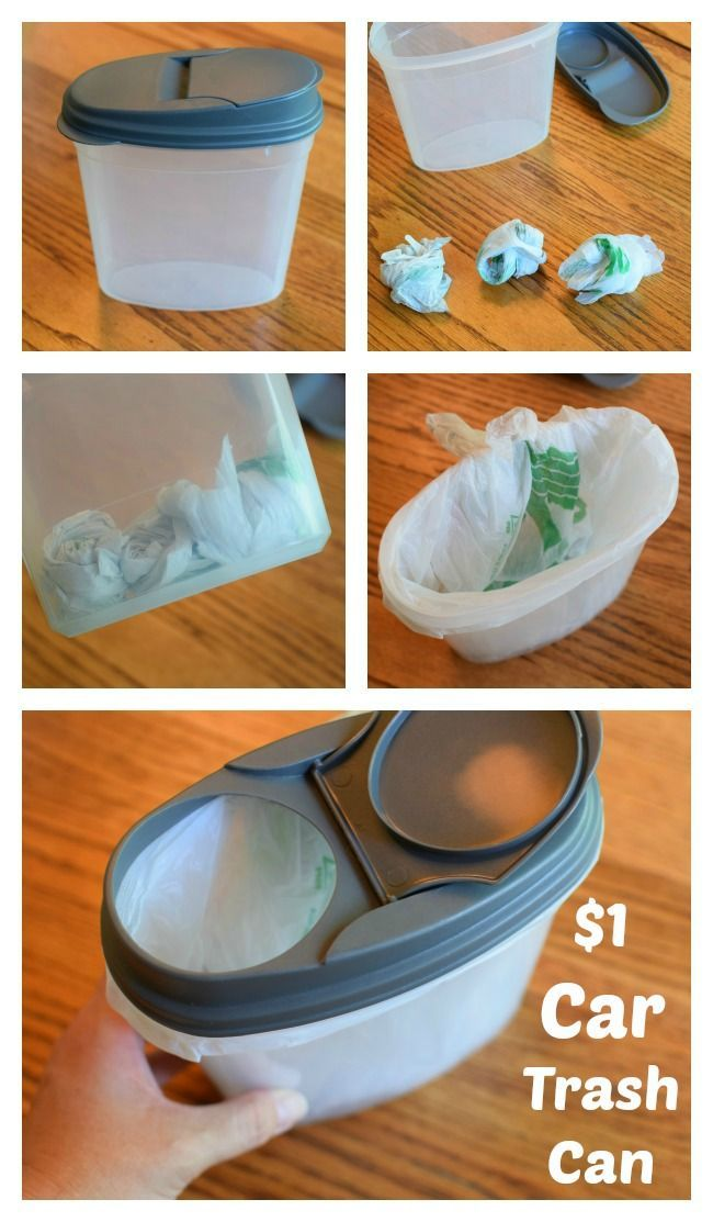 $1 Car Trash Can - Great dollar store idea to keep your car clean! This is a great Organization Tip for your car!  Perfect Cleaning Hack!