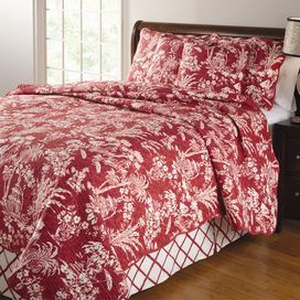 "Cotton and linen-blend quilt set with a tropical floral motif.Product:    Full/Queen: 1 Quilt, 2 standard shams and 1 bed skirt King: 1 Quilt, 2 king shams and 1 bed skirt Construction Material: Cotton and linen face and cotton fillColor: Red and ivory  Features:  Print with gazebos, palm trees and covered wooden bridges Tailored bed skirt has a 15"" drop Oversized for better mattress coverage        Dimensions:  Standard Sham: 20"" x 26"" eachFull/Queen Quilt: 90"" x 90"" King Sham: 20"" x 36""…"