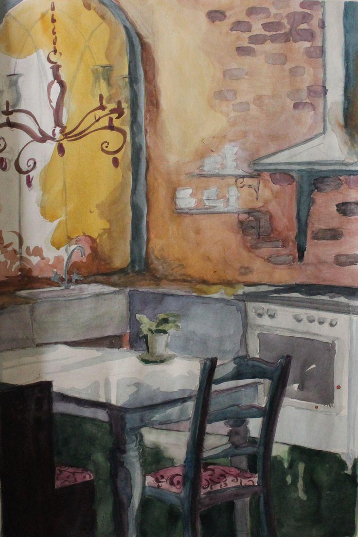 akvarelli harjoitus, keittiö