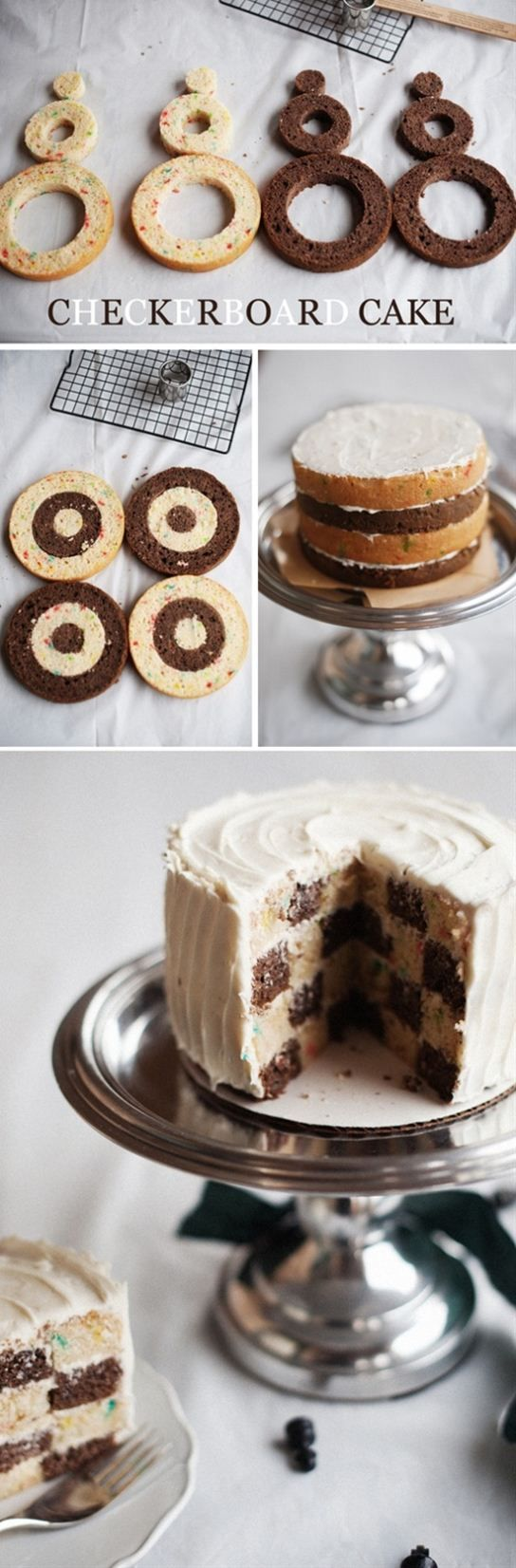 photo tutorial: chocolate and vanilla checkerboard cake with out a fancy cake pan ... from Saifou images ... think I could actually do this ...