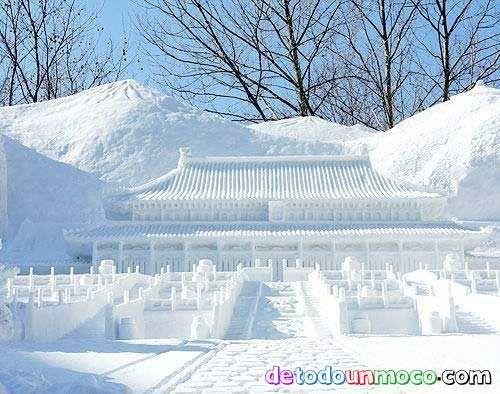 Asian building snow