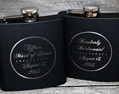 Wedding party favors, Bridesmaid flask Set of 2 flasks Maid of honor flask, engraved, Custom engraved 6oz flask., flask, personalized flask,