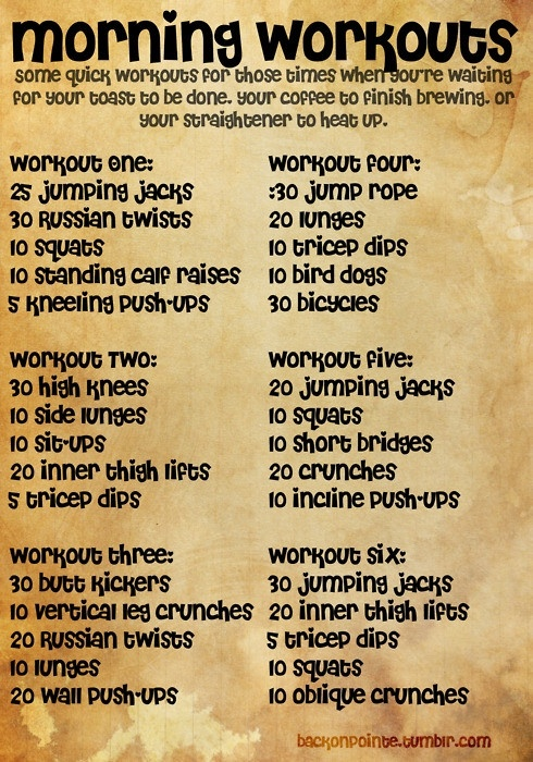 quick morning workout routines for when your waiting for your toast, coffee, or flat iron :)