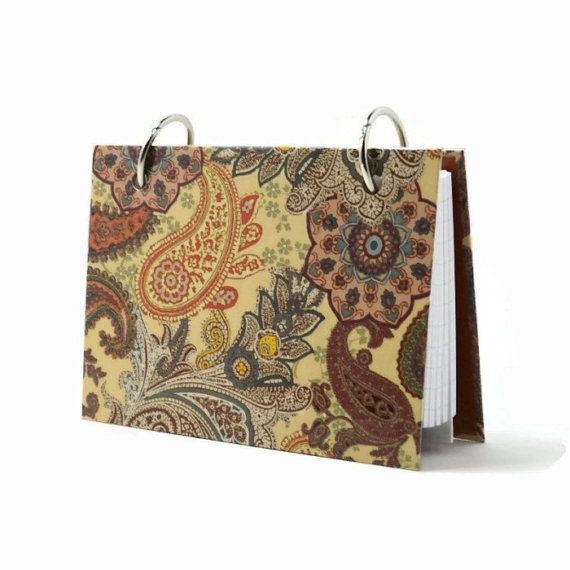 Index card binder, autumn paisley, fall colors, holiday recipe holder, recipe book, index card holder with a set of tab dividers