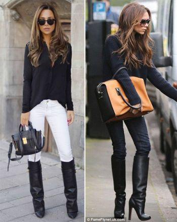 Высокие сапоги в сочетании с джинсами скинни