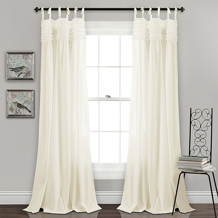 "Lush Decor Lydia Ruffle 84"" Tie Tab Window Curtain Panel"