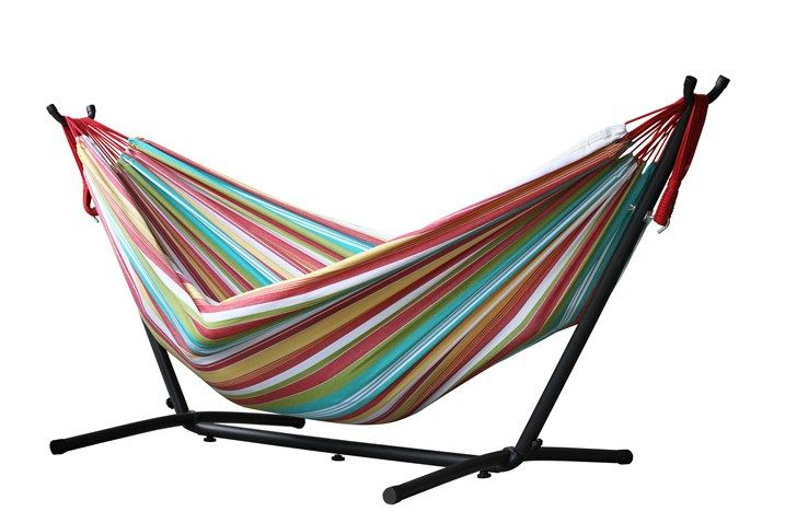 The Universal Hammock Stand with Double Hammock is our favourite for combos. The double hammock is made with 100% cotton, creating a comfortable refuge for an afternoon snuggle. The hammock stand is constructed of heavy duty steel and assembles in minutes without any tools. Plastic caps are used on the ends of the steel tubing to create a soft finish. You will enjoy the freedom the stand provides by allowing you to set up your hammock in the most convenient location and no longer rely on…
