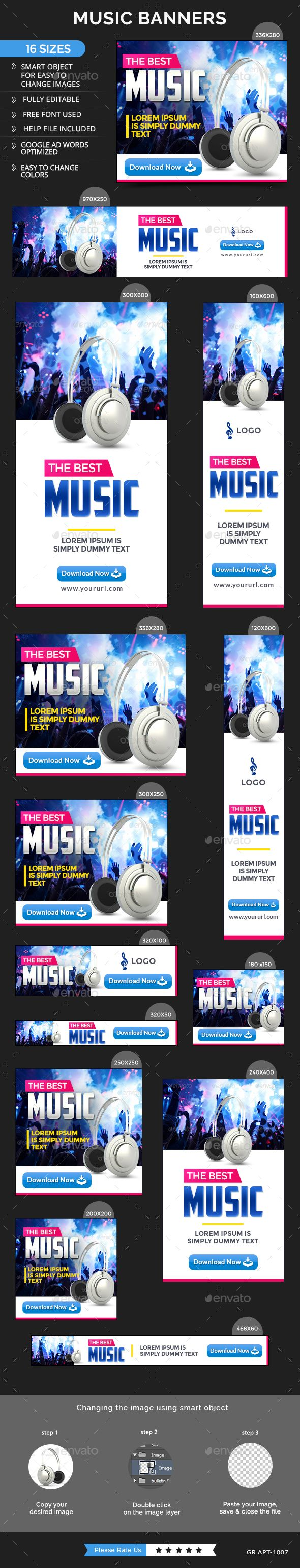 Music Web Banners Template PSD #design #ads Download: http://graphicriver.net/item/music-banners/13876939?ref=ksioks