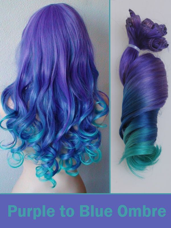 Purple To Blue Ombre Colored Clip In Human Hair Extensions Clip In