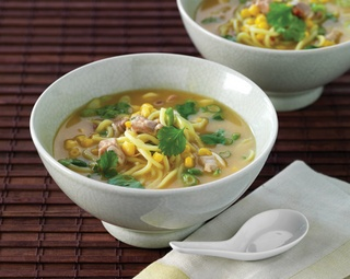 Asian Style Chicken, Corn and Noodle Soup