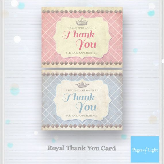 Prince Thank you card Princess Thank you card by PagesOfLight