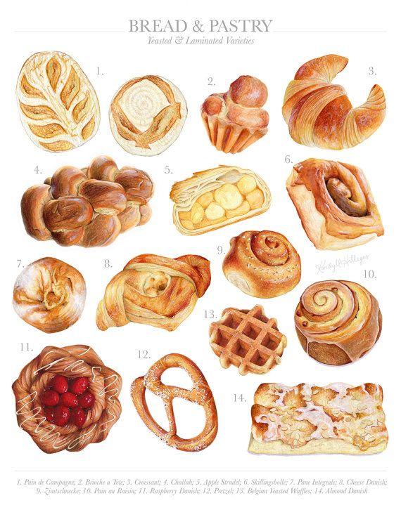 Bread & Pastry Varieties // Limited Edition Food Illustration // Art Print, Challah, Cinnamon Roll, Waffle