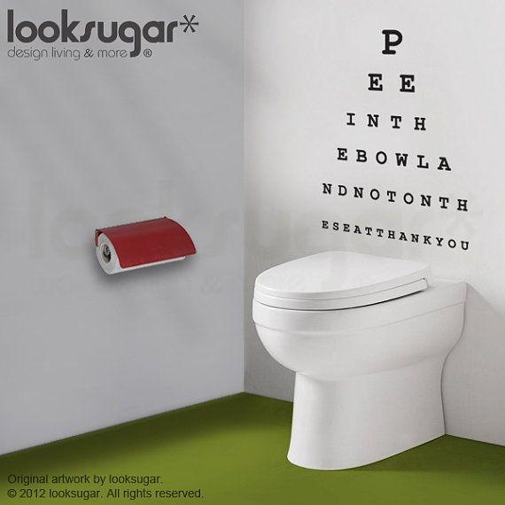Décalque de la Charte de le œil - pipi dans la cuvette s'il vous plaît - Wall Decal Wall Sticker - salle de bains Message moderne mur autoco...