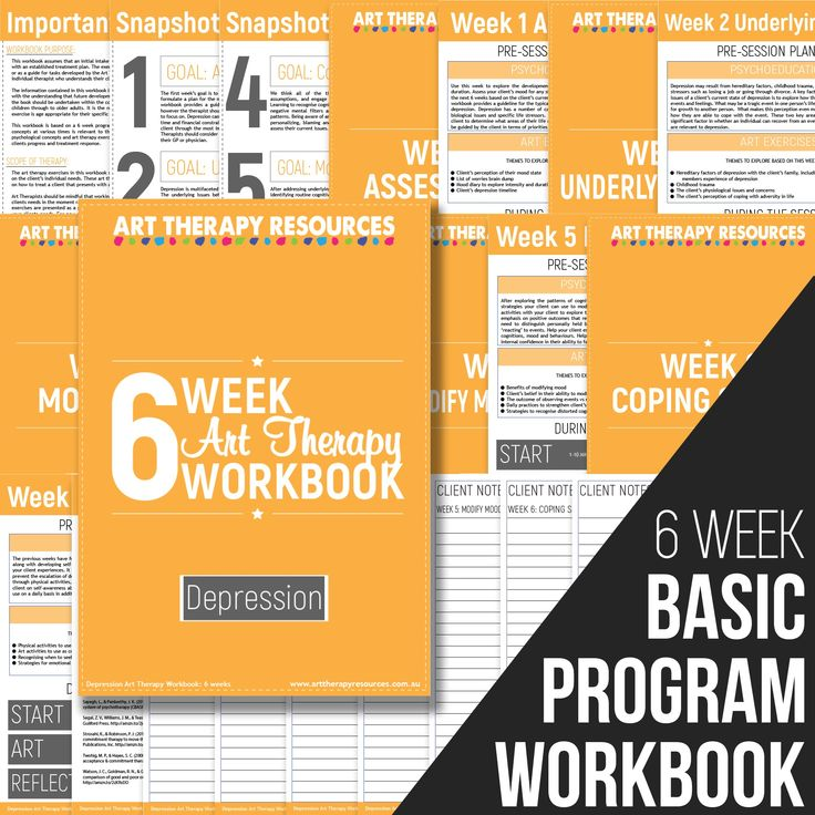 The Art Therapy Depression Workbook outlines a 6-week program dealing with depression. Each week includes a suggested list of art therapy exercises for your client.