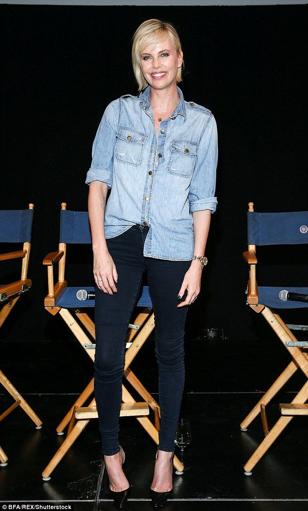 Risk-taker: She looked stunning in a varying double denim number which showed off her long lean legs
