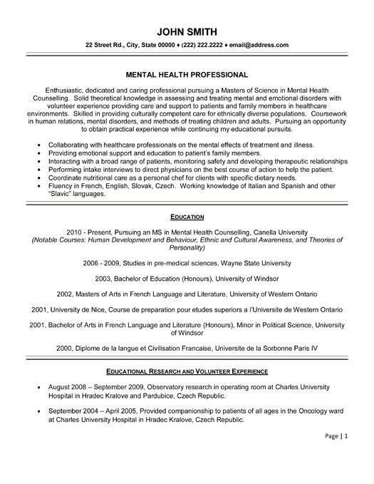 Mental Health Resume Resume Counselor Mental Health Counselor Resume