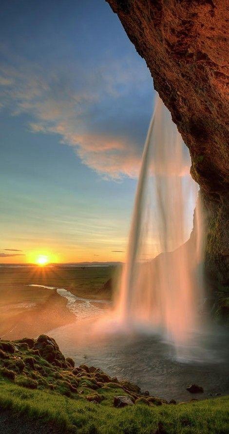 Sunset at Seljalandsfoss Waterfall in southern Iceland